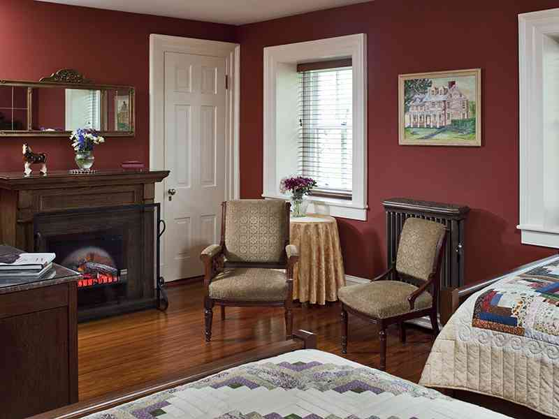 Boy's room at Speedwell Forge B&B. Fireplace 2 beds, private bathroom
